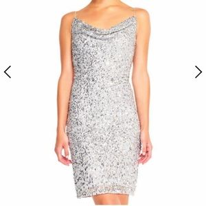 Adrianna Papell silver sequin cocktail dress US 6